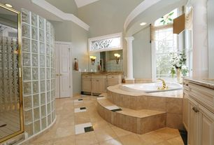 5 Tags Traditional Master Bathroom With High Ceiling, Flush, Columns, Crown  Molding, Limestone Tile