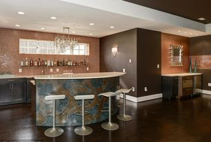 Transitional Bar With Wall Sconce, Hardwood Floors, Chandelier, High  Ceiling, Built