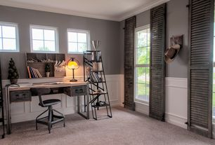 6 Tags Rustic Home Office With Custom Wainscot Panels, Cashmere II Color  Light Suede Texture 12 Ft