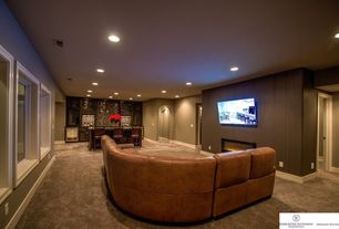 Contemporary Home Theater With High Ceiling Carpet