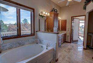 traditional full bathroom with tundra gray marble super white marble countertop
