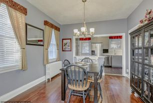 1 Tag Country Dining Room With Hardwood Floors, Chandelier, High Ceiling