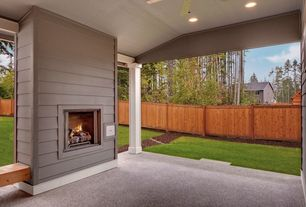 Traditional porch with screened porch exterior fireplace for Wood burning stove for screened porch