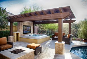 Modern Patio With Fire Pit, Fence, Exterior Tile Floors, Trellis