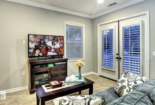 Traditional Game Room With Carpet High Ceiling Crown Molding