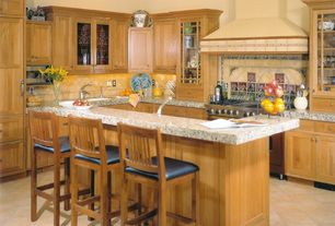 4 Tags Craftsman Kitchen With L Shaped Breakfast Bar Ms International Travertine Tuscany Alabastrino