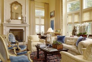 Traditional Living Room With Pleated Linen Drapery Panels With Greek Key Trim Made To Order