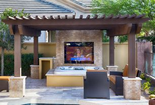 transitional hot tub with fence trellis exterior tile floors