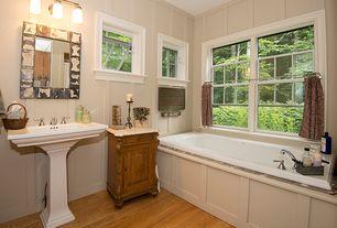 Country Full Bathroom With Raised Panel, Kohler   Tresham Pedestal Sink, Pedestal  Sink,