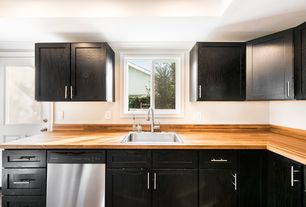 Contemporary Kitchen With Wood Butcher Block Countertop In Unfinished Birch European 6 Bar Pull