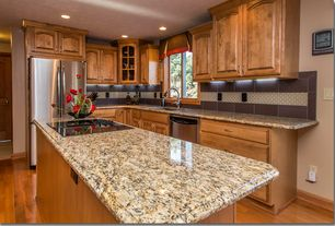 5 Tags Traditional Kitchen With Giallo Ornamental Granite, MS  International, L Shaped, Stone Tile