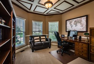 Traditional Home Office With Montego Bay 3 Light Semi Flush Mount