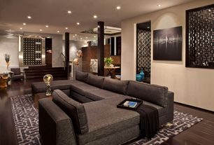 Marvelous Contemporary Living Room With Columns, Hayden Fabric Bench, Sunken Living  Room, Napa Charcoal Photo