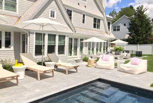 Cottage Patio With Fence, Pathway, TropiShade 11 Foot Premium Beige Dark  Wood Market