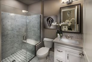 Traditional 3 4 Bathroom With High Ceiling Flat Panel