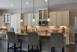 2 Tags Traditional Room With Eat In Kitchen, Kitchen Island With Seating,  White Kitchen Cabinets