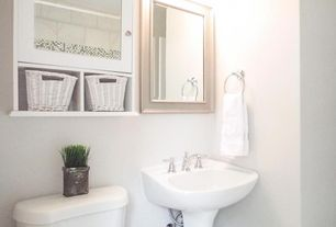 traditional powder room with built in bookshelf pedestal sink in boise id zillow digs zillow - Powder Room Pedestal Sink
