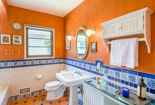 2 tags cottage master bathroom with wall sconce pedestal sink flush bathroom floor tile
