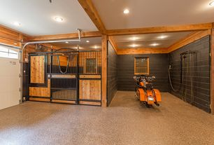 Rustic Garage With High Ceiling Complex Granite Floors Exposed Beam
