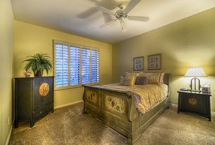 Tropical Guest Bedroom With Carpet, High Ceiling, Ceiling Fan