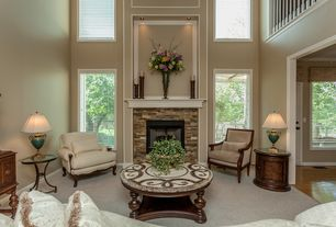 Traditional Living Room With High Ceiling Amp Carpet In