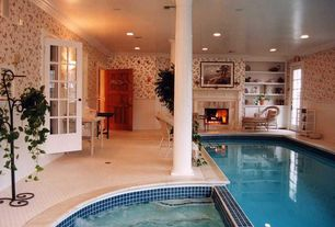 traditional swimming pool with pool with hot tub exterior tile floors indoor pool