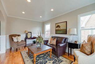 Traditional Living Room With Wainscoting, Hardwood Floors