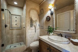 Mediterranean 3 4 Bathroom With High Ceiling Drop In Sink Wall Sconce