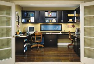 3 Tags Contemporary Home Office With Hardwood Floors, Built In Bookshelf,  Office Star Padded Bankeru0027s