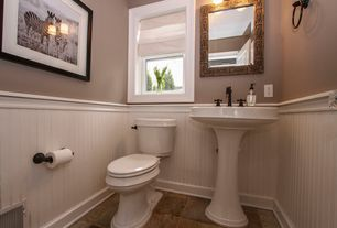 cottage powder room with high ceiling amp pedestal sink in 11727