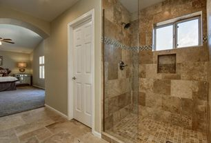 5 tags traditional master bathroom with sonoma honed travertine daltile fidenza stone and glass accent - Traditional Bathroom Tile Designs