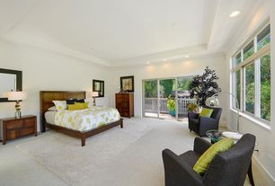 Contemporary Master Bedroom With Carpet Crown Molding High Ceiling