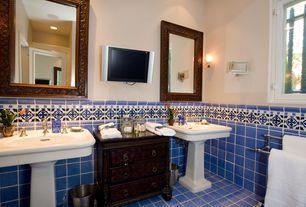 mediterranean powder room with wall sconce high ceiling blue kiosco terra nova mediterraneo ceramic - Mediterranean Bathroom Design