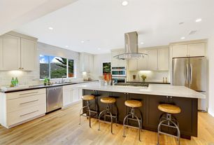 contemporary kitchen with sugar beige marble countertop shaker recessed panel cabinets shadow gray quartz