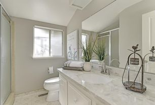 Transitional Full Bathroom With Custom Mirrors Silver Framed Shower Enclosure With A 1 4