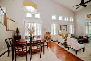 Transitional Essential Gray Dining Rooms Room With Cathedral Ceiling Carpet Hardwood Floors Pendant Light