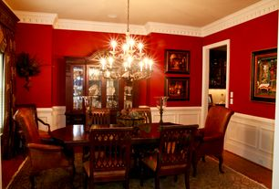 Traditional Dining Room With Wainscoting, Ethan Allen Ashley Cabriole Leg  Armchair, Chandelier,