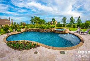 3 tags country swimming pool with fountain pathway fence national pool tile natural ledger stone - Pool Design Ideas