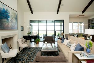 1 Tag Transitional Living Room With Cement Fireplace Travertine Tile Floors Exposed Beam High Ceiling
