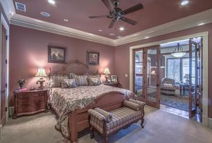 1 Tag Traditional Master Bedroom With Ceiling Fan, High Ceiling, Carpet,  Crown Molding