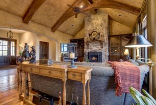 Rustic Living Room With Interior Wallpaper Exposed Beam Cathedral Ceiling Fan