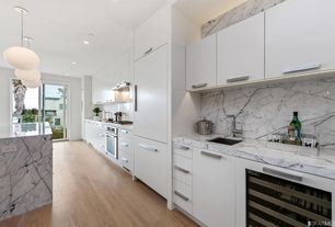4 Tags Modern Kitchen With George Nelson Saucer Lamp, Carrara White Marble  Countertop, Seneca Cabinetry