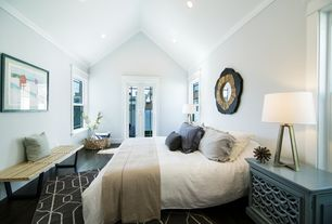 Contemporary Master Bedroom With Bacca Sideboard, Carpet, Crown Molding,  Cathedral Ceiling, Hardwood