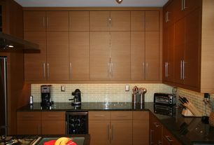 1 Tag Modern Kitchen With Complex Granite Counters, L Shaped, Wine  Refrigerator, Kitchen Island