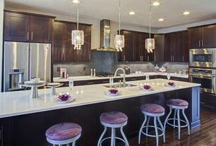 4 Tags Contemporary Kitchen With Gallery Retractable Crystal Draped  Pendant, Designer White Solid Surface Countertop,
