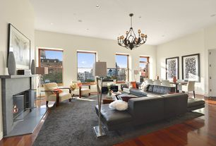 2 Tags Contemporary Living Room With Chandelier Stone Fireplace Metal Hardwood Floors