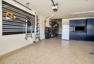 1 Tag Contemporary Garage With Flush Light, Simple Granite Floors, High  Ceiling, Built In