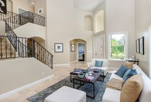 Transitional Living Room With Carpet High Ceiling Limestone Tile Floors