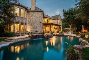 rustic swimming pool with pool with hot tub fountain fence pathway exterior