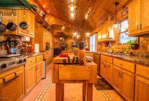 5 Tags Rustic Kitchen With Limestone Tile Floors Niagara Gold Granite Countertop Complex Granite Raised